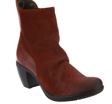 FLY London Leather Heeled Ankle Boots Hota Brick Women's Booties EU42 US 10.5-11