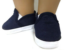 "Navy Canvas Slip On Shoes made for 18"" American Girl Doll Clothes"
