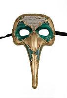 Maschera Di Venezia Zanni - Lunghi Naso Symphonia Verde Dorata 1495 VG17