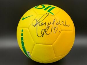 Ronaldinho Signed Brazil National Team Soccer Ball Beckett LOA A07451 PSA/DNA