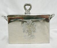 SILVER COLOR METAL TEA CADDY WITH LID