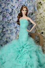 Mint Green Dress Outfit Gown  Silk stone Barbie Fashion Royalty Model Doll