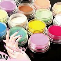 12 Pcs Mixed Colors Acrylic Nail Art Dust Powder Decoration for Nail Tips NEW ZH