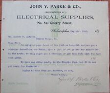 Bicycle 1898 Letterhead: John Y. Parke & Co. Electrical Supplies, Cycle Brake