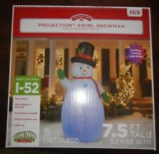 PROJECTION SWIRL LIGHT EFFECT SNOWMAN Christmas Airblown Inflatable Yard Decor