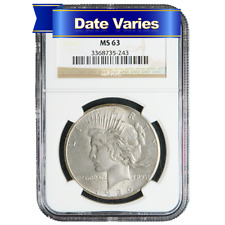 1922 to 1935 $1 Silver Peace Dollar NGC MS63 Random Year