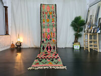 Moroccan Vintage Handmade Boujaad Runner 2'3x10'8 Berber Abstract Green Pink Rug