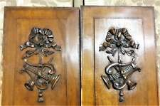 Architectural salvage pair music trophy panel Antique french wood carving