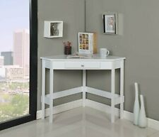 Kings Brand Furniture White Finish Wood Corner Desk With Drawer