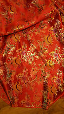 "1m Red Multi Colour Floral Chinese Brocade Fabric Shiny Silky Material 45""wide"
