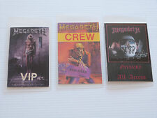 MEGADETH - Collection of THREE Laminated Backstage Tour Passes (X3)