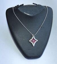 "Ruby & 0.25 TCW Diamond Necklace 14k White gold 16"""