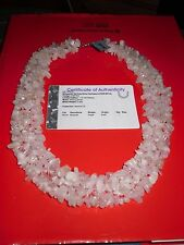 760 CTS GENUINE MORGANITE NECKLACE SOLID SILVER CLASP + AUTHENTICITY CERTIFICATE