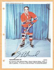 1972 Dimanche Derniere Heure Canadiens' Henri Richard Autographed