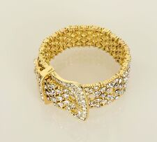 LOVEROCKS Crystal & Gold Tone Pavé Buckle Stretch Bracelet in Box Gift Pouch QVC