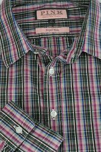 Thomas Pink Men's Brown Violet & Green Plaid Cotton Casual Shirt L Large