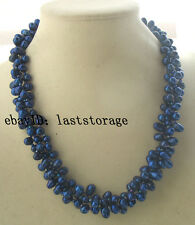 """3rows freshwater pearl blue rice necklace 19"""" nature wholesale beads 5-8mm"""