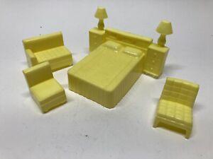 Lot Of 4 Superior Marx 1950's Hard Plastic Yellow Furniture Dollhouse Variety