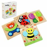 Felly Wooden Toys - 4 Pack Jigsaw Puzzles for Toddlers 1 2 3 Years Old, Boys &