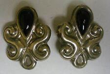 STERLING SILVER AND ONYX EARRINGS/CLIP-ON