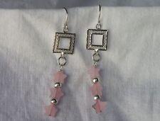 Sterling Silver Rose Quartz Stars Dangle Earrings