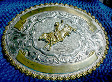 GORGEOUS BRONCO RODEO OVAL BELT BUCKLE - Heavy Silver on Bronze, Signed CRUMRINE