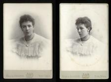1880s Cabinet Card Portraits (2) Woman Lacy Collar, Hills & Saunders, Yorktown