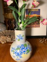 Art Deco Vintage Porcelain Hand Painted Blue Florals  Vase~Lefton~Made In Japan