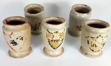 5 seltene Apothekengefäße/ Becher, Keramik, Süddeutschland, um 1850 AL479