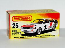 CUSTOM DISPLAY BOX ONLY FOR MATCHBOX 25 AUDI QUATTRO (1985) - FREE UK POST