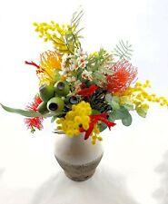 Flower Arrangement - Multicoloured Artificial Native Flowers in Rustic Vase