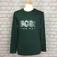 BOSS HUGO BOSS MENS UK S GREEN TOGN1 LONG SLEEVE T-SHIRT TEE TSHIRT DESIGNER