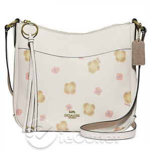 NEW Coach Chaise Pansy Print Floral Pebbled Leather Tote Bag - Cream Chalk NWT