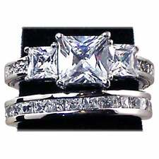 PRINCESS CUT_3-STONE_CLEAR CZ WEDDING SET__ SZ-4__925 STERLING SILVER - NF