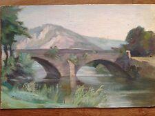 Aquarelle couleurs fine '800 primi '900 avec pont sul fleuve e montagnes