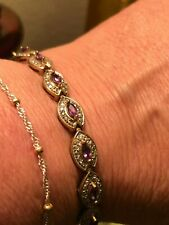 Estate Purple Amethyst and 925 Sterling Silver bracelet8 inches 16.68 grams