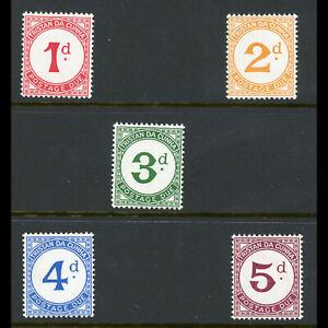 TRISTAN DA CUNHA 1957 Postage Due. SG D1-D5. Lightly Hinged Mint. (WB944)