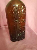 Vintage Warners Safe Kidney and Liver Cure Medicine Rochester NY Amber Bottle