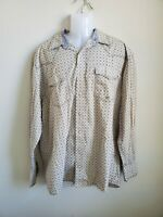 Used Roper Wear the West Taupe Men's Button Down Shirt Size XL Long Sleeve