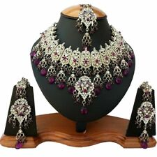 Silver Plated Jodha's Kundan Zerconic Bollywood Necklace Set Earrings Tikka ES3