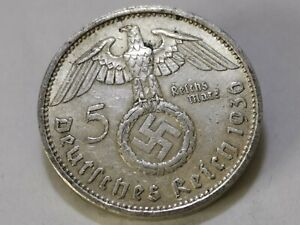 (3)German 5 Reichsmark (1936 A) 0.900 silver coin Third Reich WW2