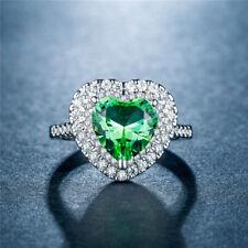 Fashion Wedding Engagement Ring 925 Silver Filled Heart Shape Peridot Size 7
