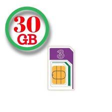 Three 3G/4G Pay As You Go Trio SIM Card - 30GB Preloaded Data/3000 MNS/3000 TEXT
