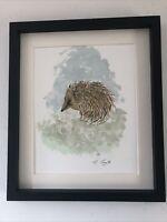 Hedgehog Original Watercolour Painting, Original Art Not A Print