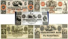 ONLY 5-DENOM SET OF 5 GEM CU HAGERSTOWN BANK MARYLAND CURRENCY! 5-10-20-50-100