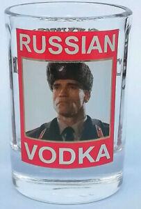 Russian vodka Arnold Schwarzenegger in Red Heat ushatka SHOT GLASS 55ml Handmade