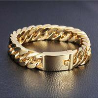Fashion 18KGold Plated Bracelet Men's Double Buckle Domineering Bracelet Jewelry