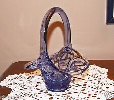 "FENTON ART GLASS Light Purple Basket 6 1/2"" tall / Signed  1980's"