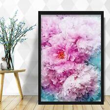 Watercolour Navy Blue & BLUSH PINK Peony Flower Floral Art PRINT Poster