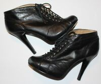 Nine West Women's Lace Up Black Leather Ankle Boots Booties Heels Size 8